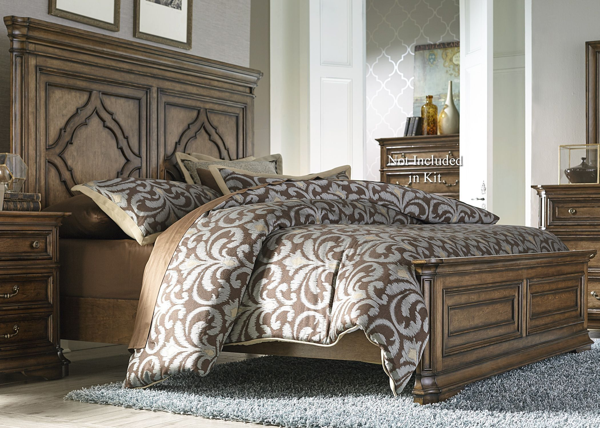 Amelia Antique Toffee King Panel Bed Liberty Furniture Discount Bedroom Furniture Bedroom Sets
