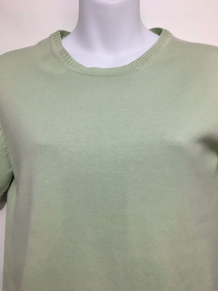 Brooks Brothers Womens L Mint Green Short-Sleeve Silk Cotton ...