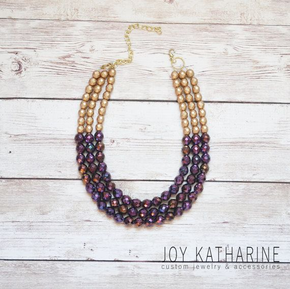 Gold Colorblock Necklace in Radiant Purple by JoyKatharine on Etsy