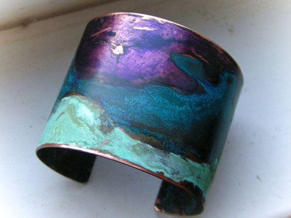 Purple And Mixed Patina Copper Cuff Medium Copper Cuff Copper Jewelry Jewelry Art