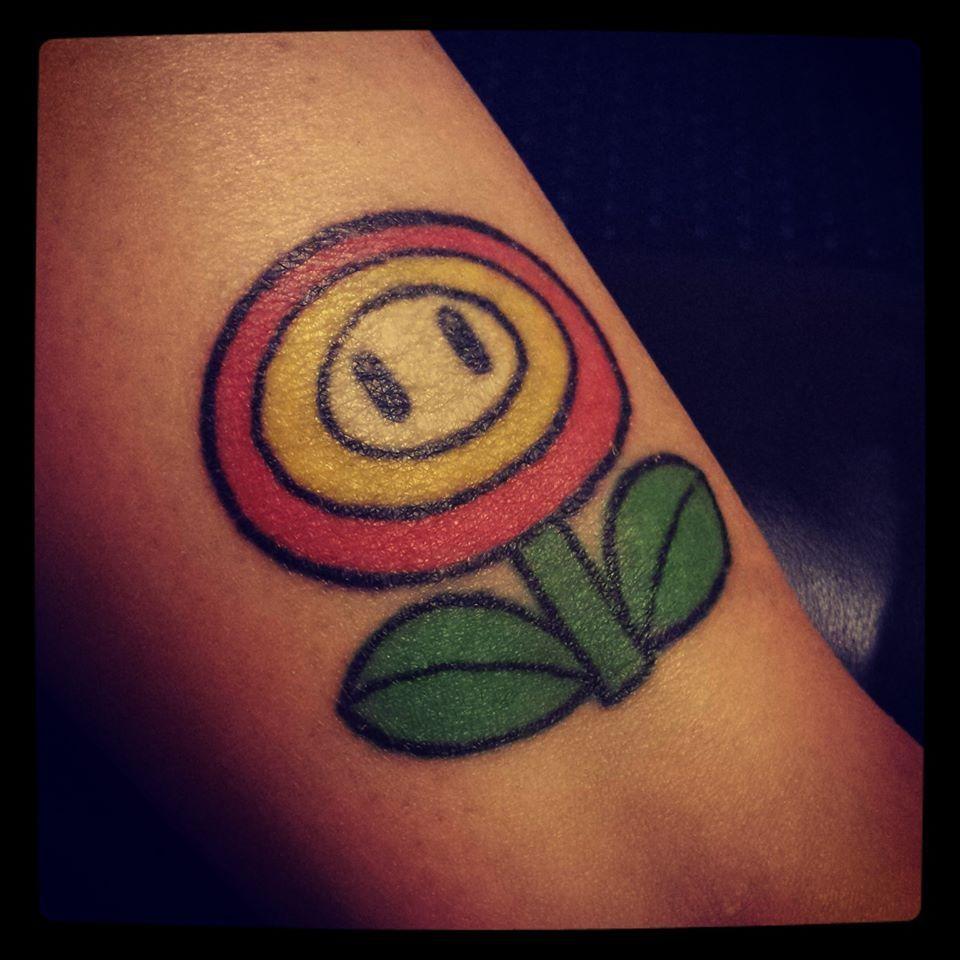 Fire Flower Tattoo // Nintendo 64 Mario Nerd Geek Mario Tattoo, Fire Flower,