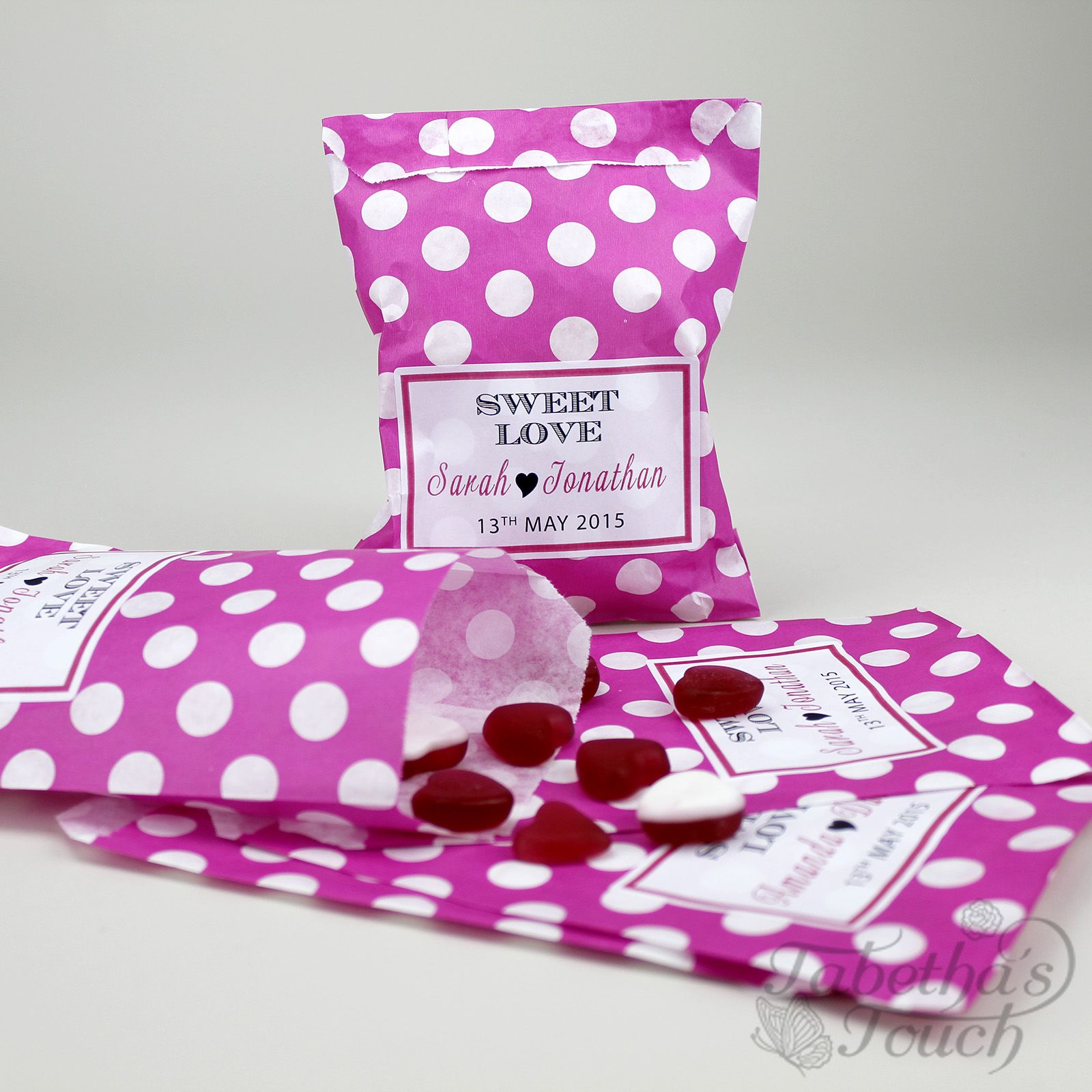 Pink Personalised Sweet Bag, ideal for corporate events, birthdays ...