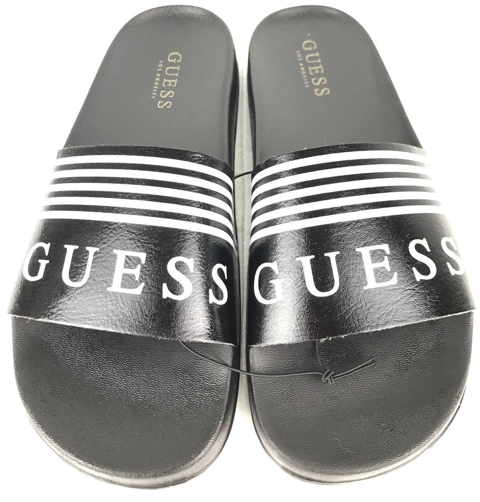 1c888d75b290bd Guess Slides Womens Size 7 Tegan Sandals Logo Black White Stripes Brand NEW