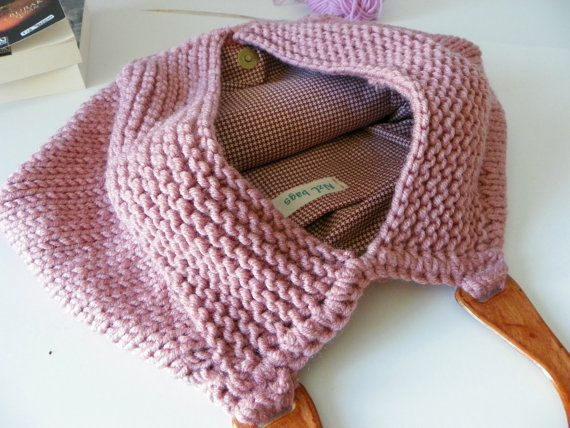 Knitting Tote, women fashion Fall fashion color, knit purse, autumn fashion color powder pink - gifts idea autumn Bag. $115,00, via Etsy.