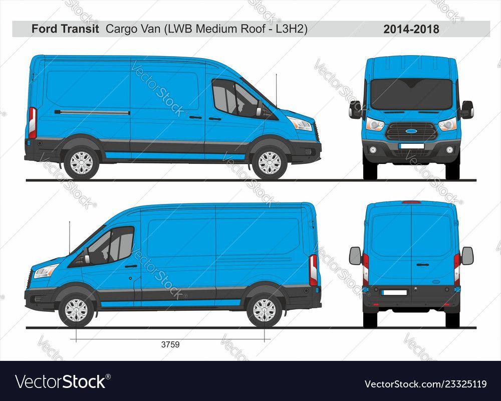 Ford Transit Cargo Delivery Van L3h2 2014 2018 Vector Image On Vectorstock Ford Transit Van Bus Wrap