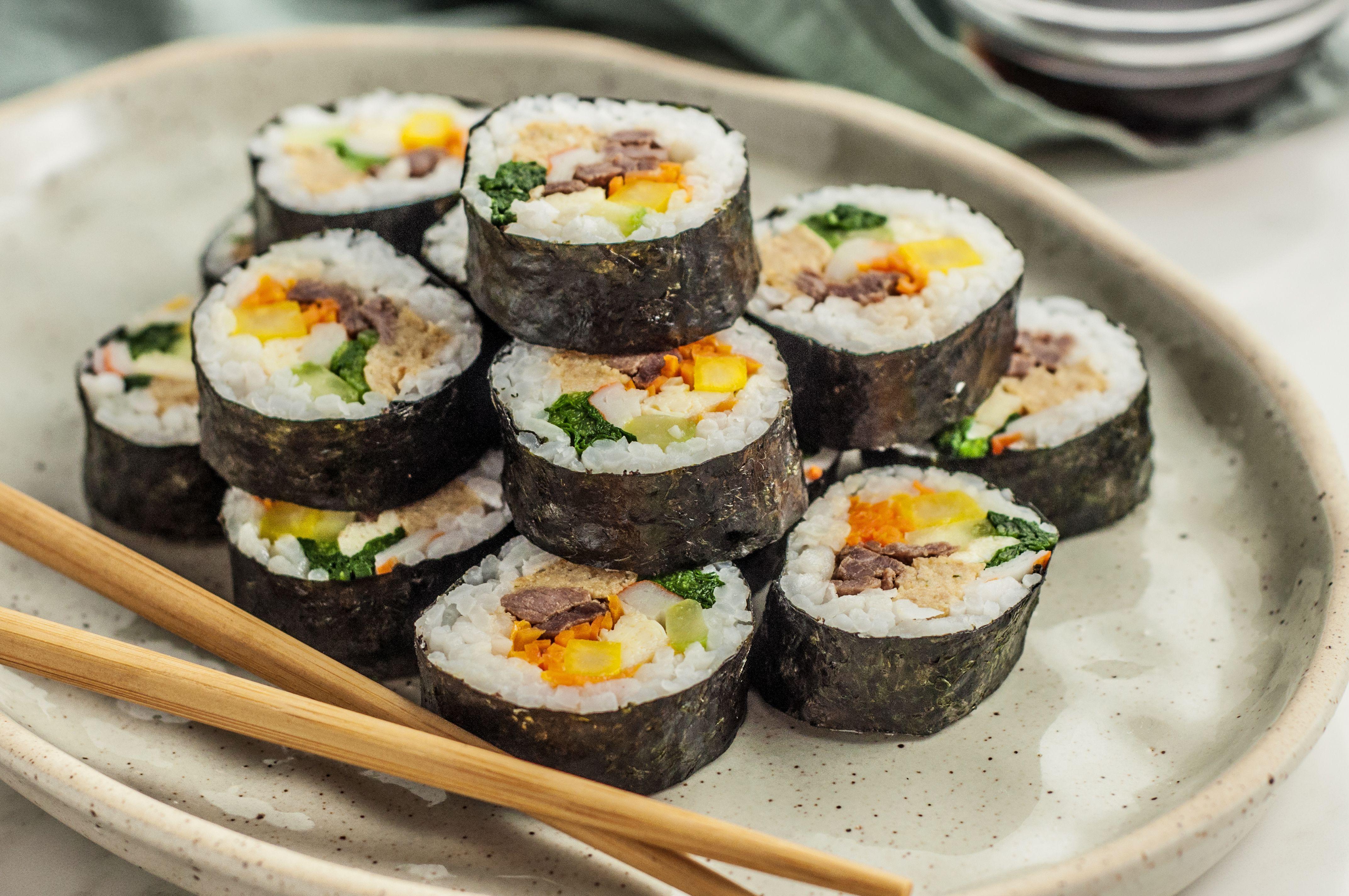 If You Love Sushi Try These Korean Kimbap Recipes Recipe Gimbap Recipe Food Vegetarian Sushi
