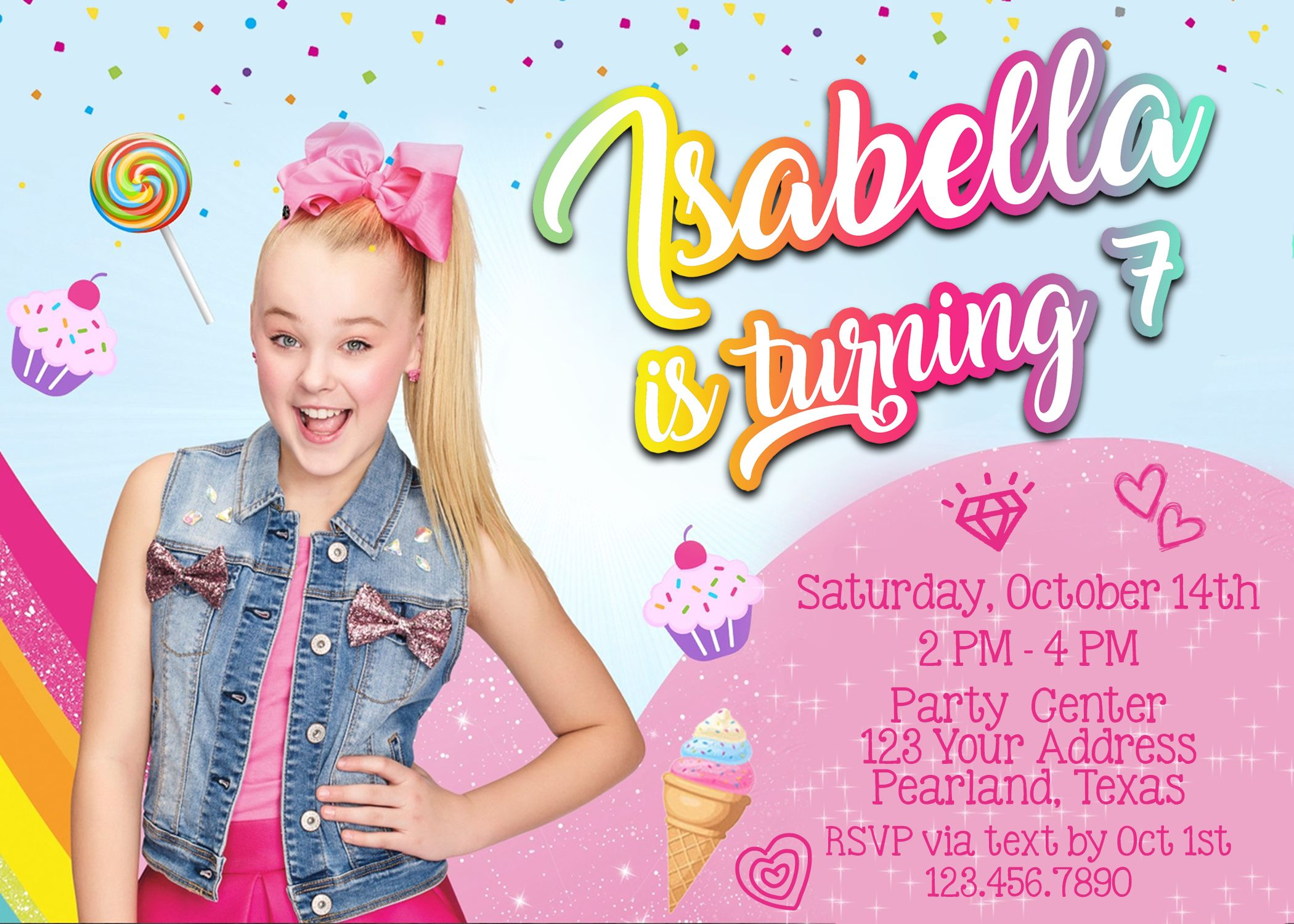 jojo siwa birthday party invitation 5x7
