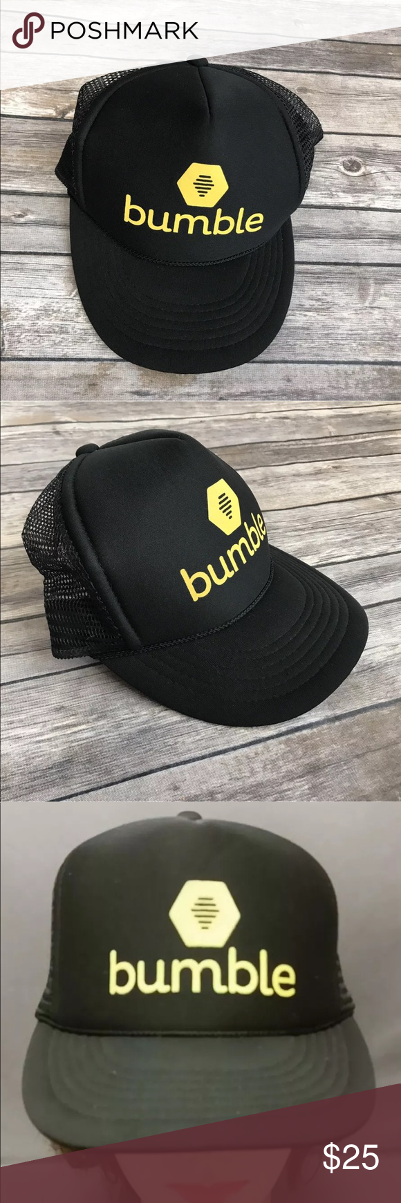 25c0002db0f BUMBLE dating app trucker hat social black mesh BUMBLE Social Dating App Hat  Trucker Cap Mesh Black SnapBack Yellow Adjustable New without tags.