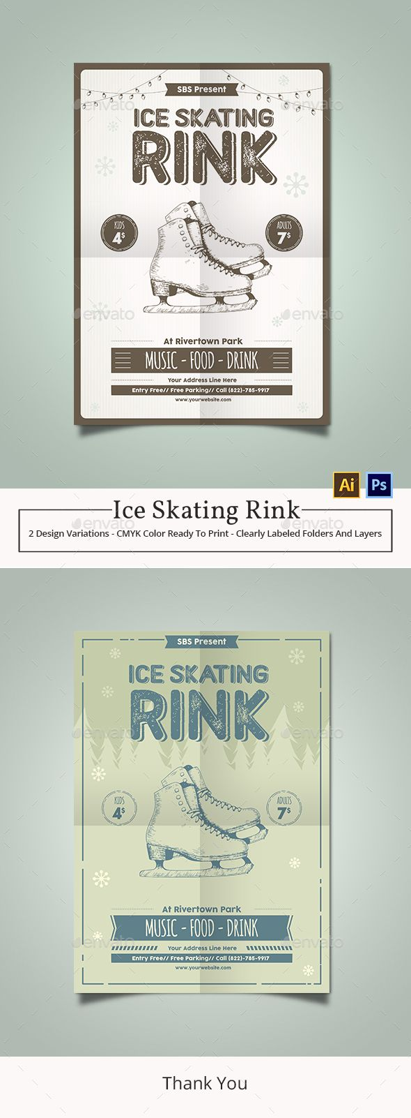 ice skating rink flyer template photoshop psd marketing simple download https