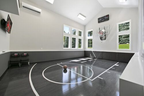Cookie Cutter Turned Custom Schrader Co Home Basketball Court Basketball Room Home Gym Design