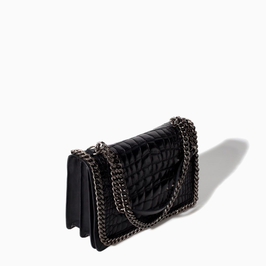 5871dfc228649d CROCODILE PATTERN LEATHER CITY BAG WITH CHAIN from Zara. # the chanel boy  bag look alike