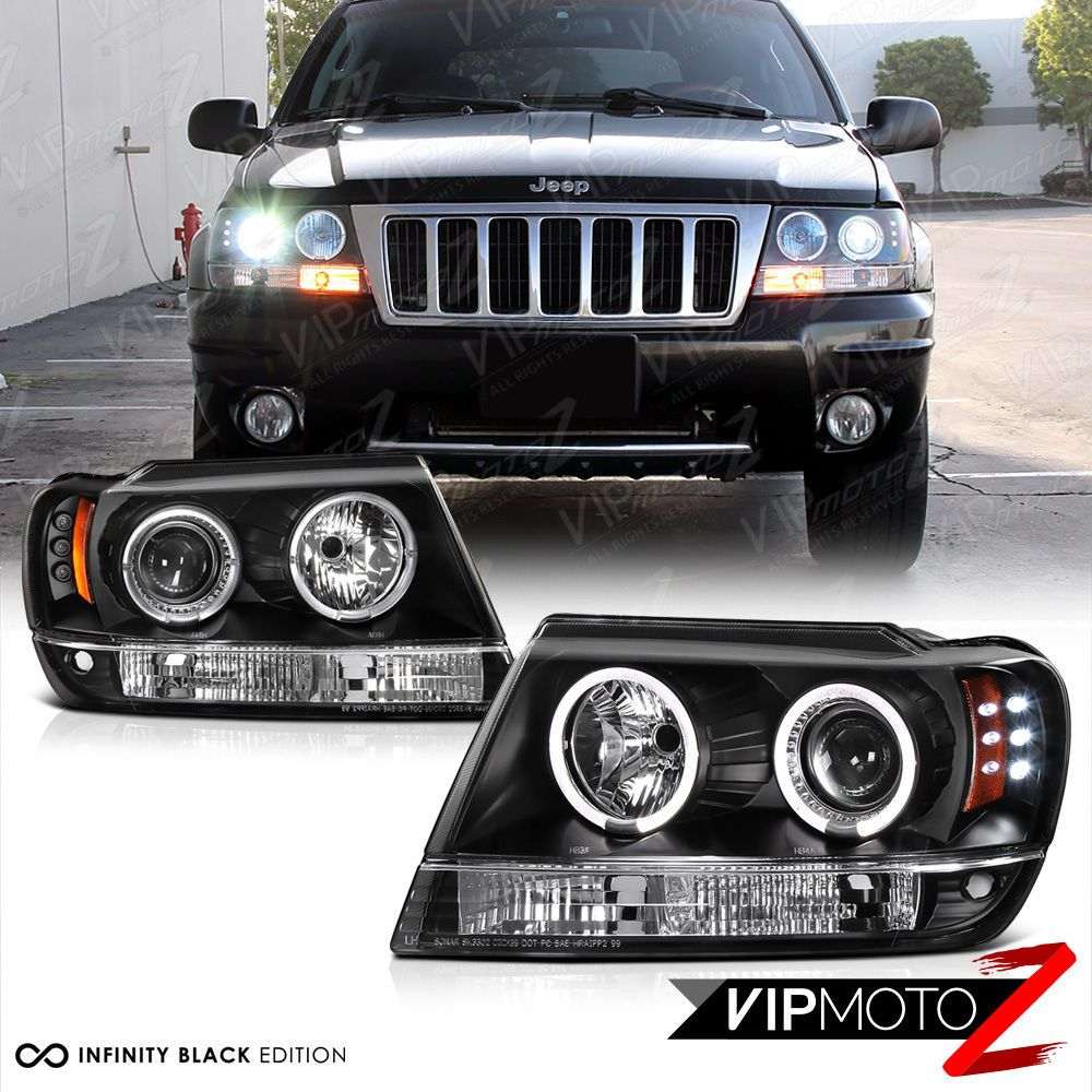 Details About For 99 04 Jeep Grand Cherokee Wj Wg Black Led Halo
