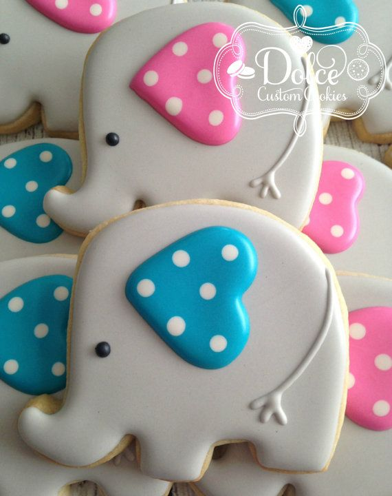 Elephant Baby Shower Cookies von DolceCustomCookies auf Etsy ...