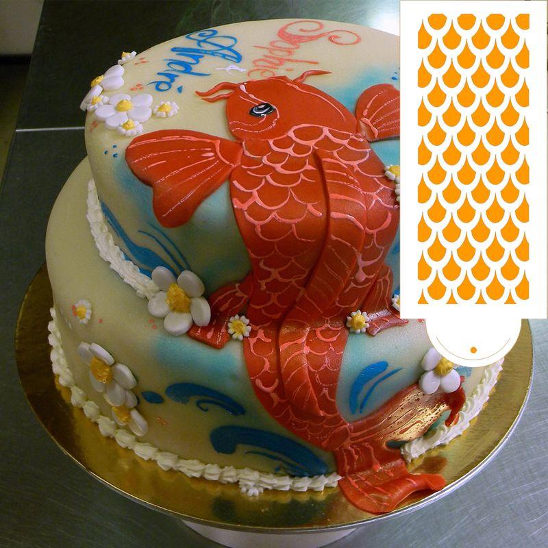 Fish Scales Shape Cake Design Spray Stencli Bakeware Cake Tools