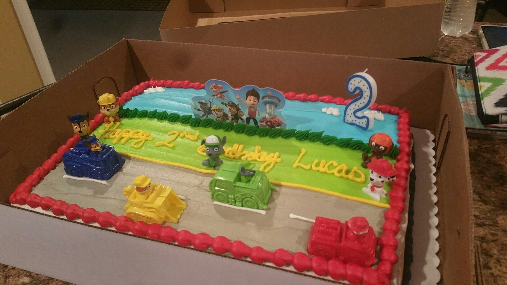 Paw Patrol Cake by sams club but I added my own figures and cars