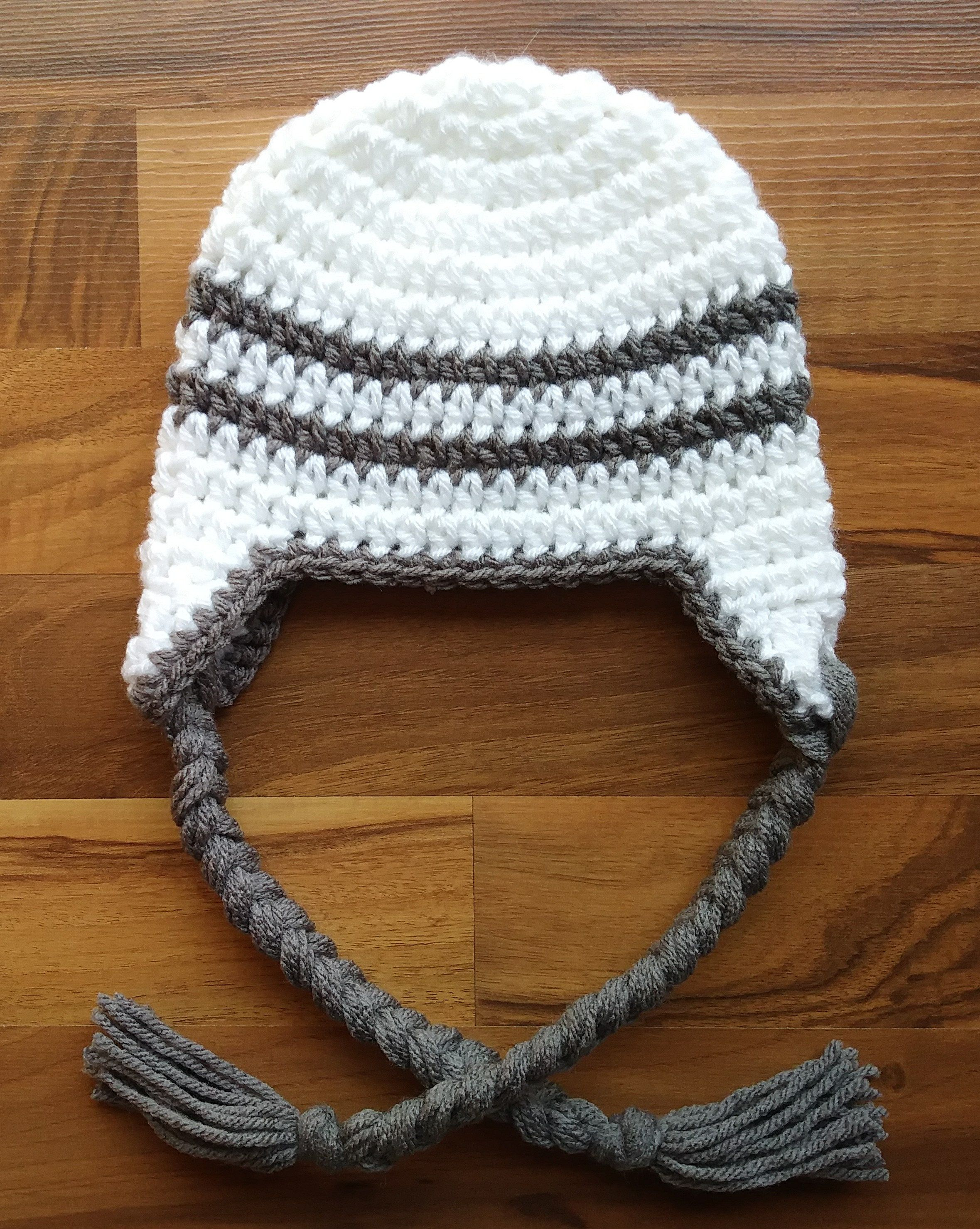 c9e1ab613bb Crocheted Baby Boy Earflap Hat with Braided Ties ~ White with Pewter Gray~  Baby Gift ~ Sizes Newborn to 5T ~ MADE TO ORDER by KaraAndMollysKids on Etsy