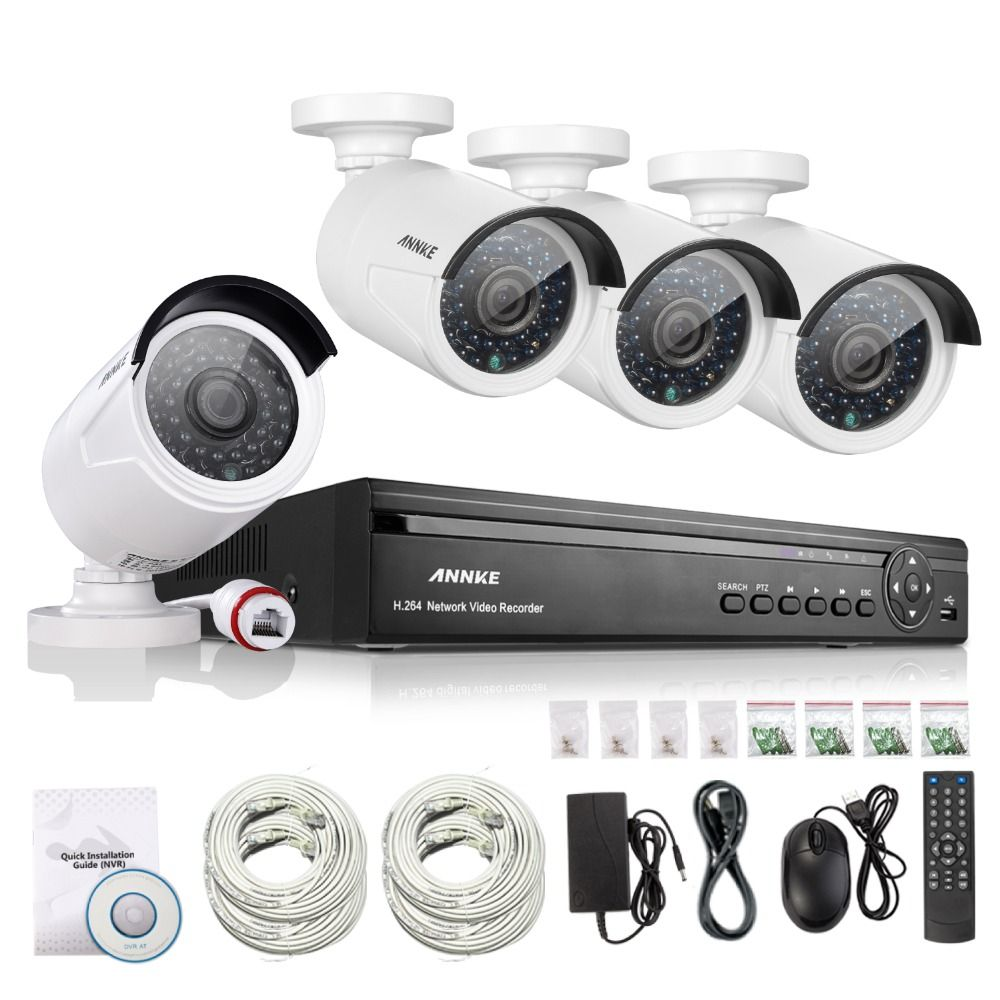 ANNKE 4CH NVR 960P IP Network PoE Video Record IR Outdoor CCTV ...
