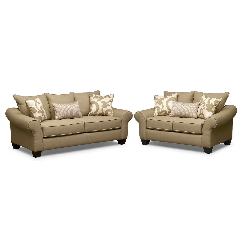 Colette Sofa and Loveseat Set - Khaki   Living room furniture ...