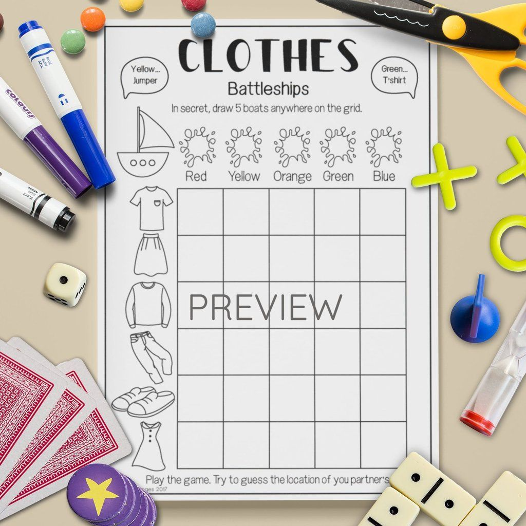Clothes 'Battleships' Game English games for kids