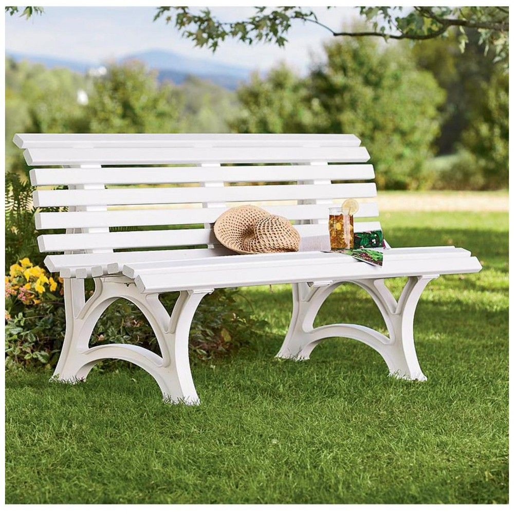 Weatherproof Garden Bench - Made Of High Quality Commercial Grade Pvc, White - Plow & Hearth
