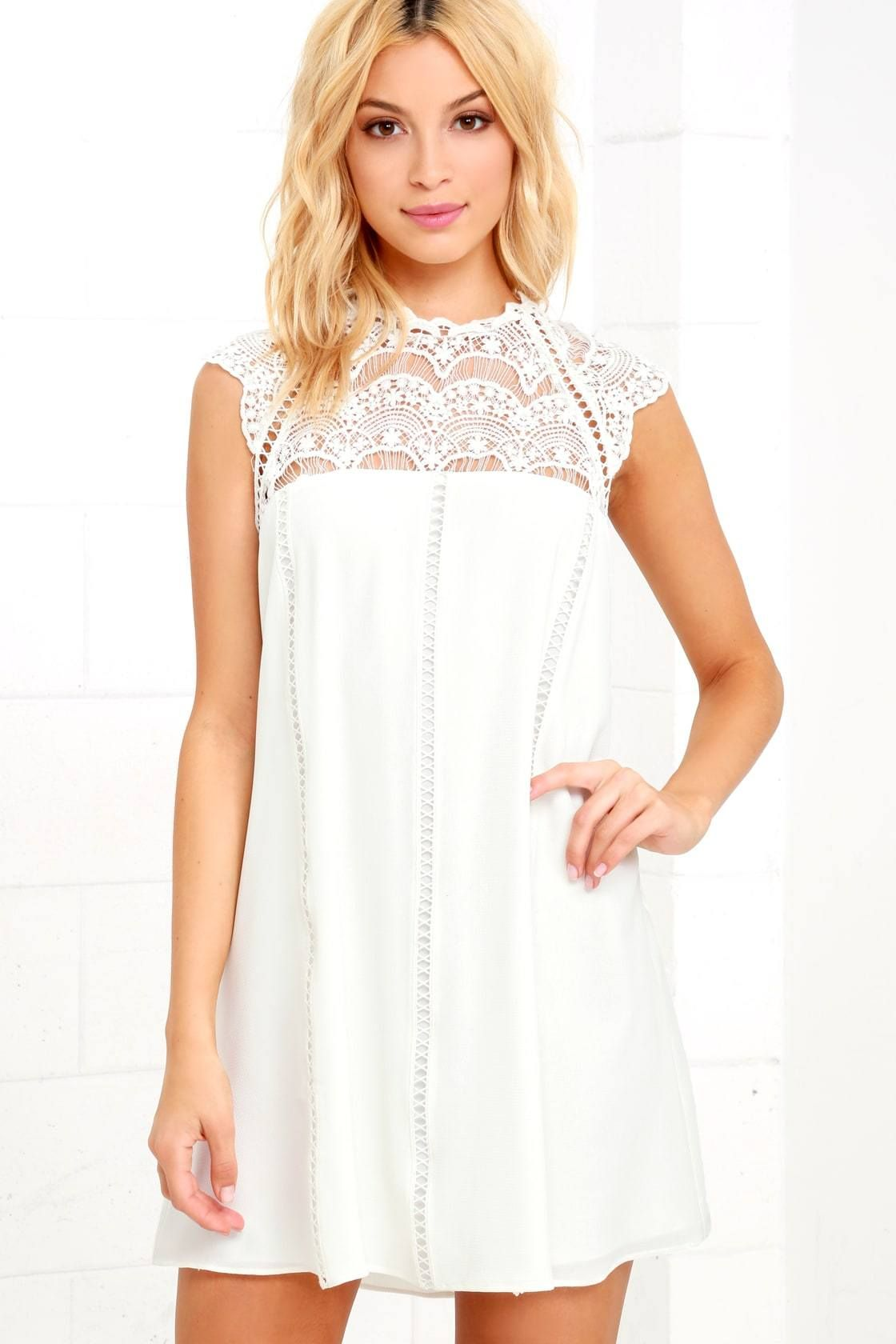 Little White Dresses Perfect For Spring Or Bridal Events Pearls Prada Spring Fashion Cute Lace Shift Dress Little White Dresses White Dresses For Women [ 1680 x 1120 Pixel ]