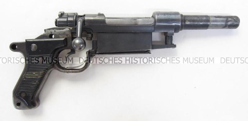 A Mauser K98 rifle cut down into an 'Obrez' pistol  It was