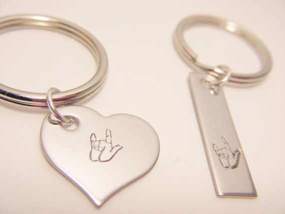 Stamped Couples Keychains I Love You Sign by customhemptreasures, $17.00