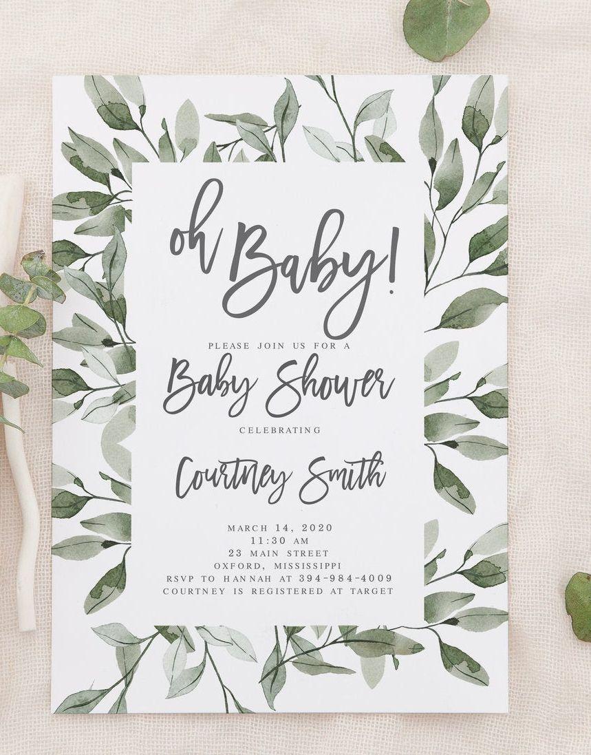 Courtney Oh Baby Editable Invitation, Eucalyptus Greenery