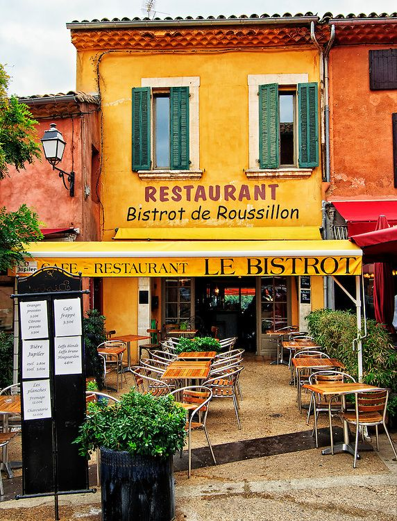 le bistro in the village of roussillon provence france. Black Bedroom Furniture Sets. Home Design Ideas