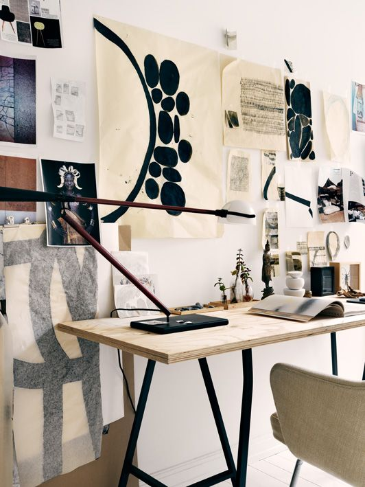 Artful And Creative Home Of A Fashion Designer Creative Home Desk Set Studio Space