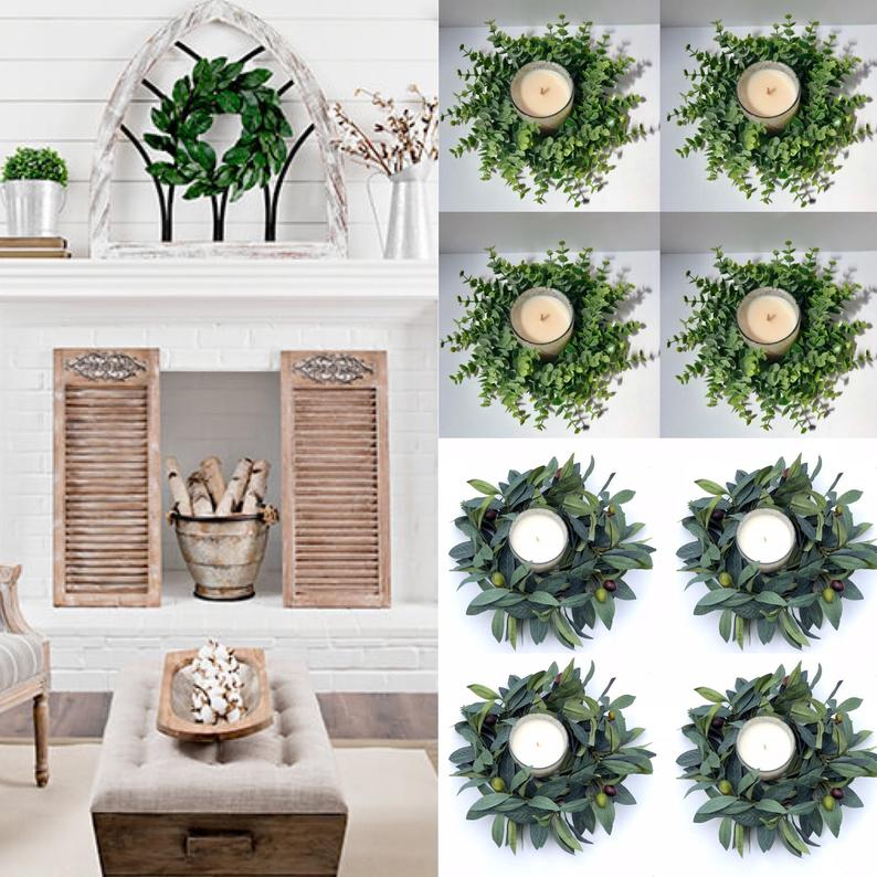 Photo of Candle Ring Eucalyptus Wreath, Greenery Wreath, Small Wreath, Lamb's Ear Wreath, Wedding Decor, Table Decor,, Farmhouse Centerpiece
