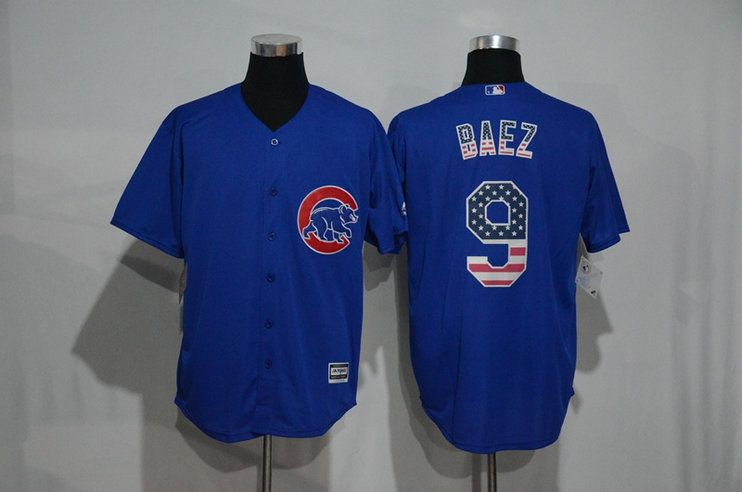 5f2994f59 New Chicago Cubs Cool Base Mens Jerseys  9 Javier Baez Blue Baseball Jersey  USA National