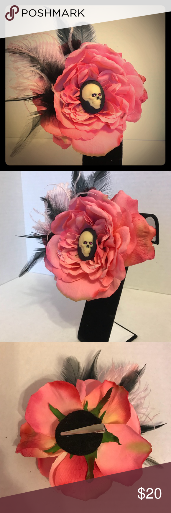Hair clip fascinator Large pink rose with skull cameo ...