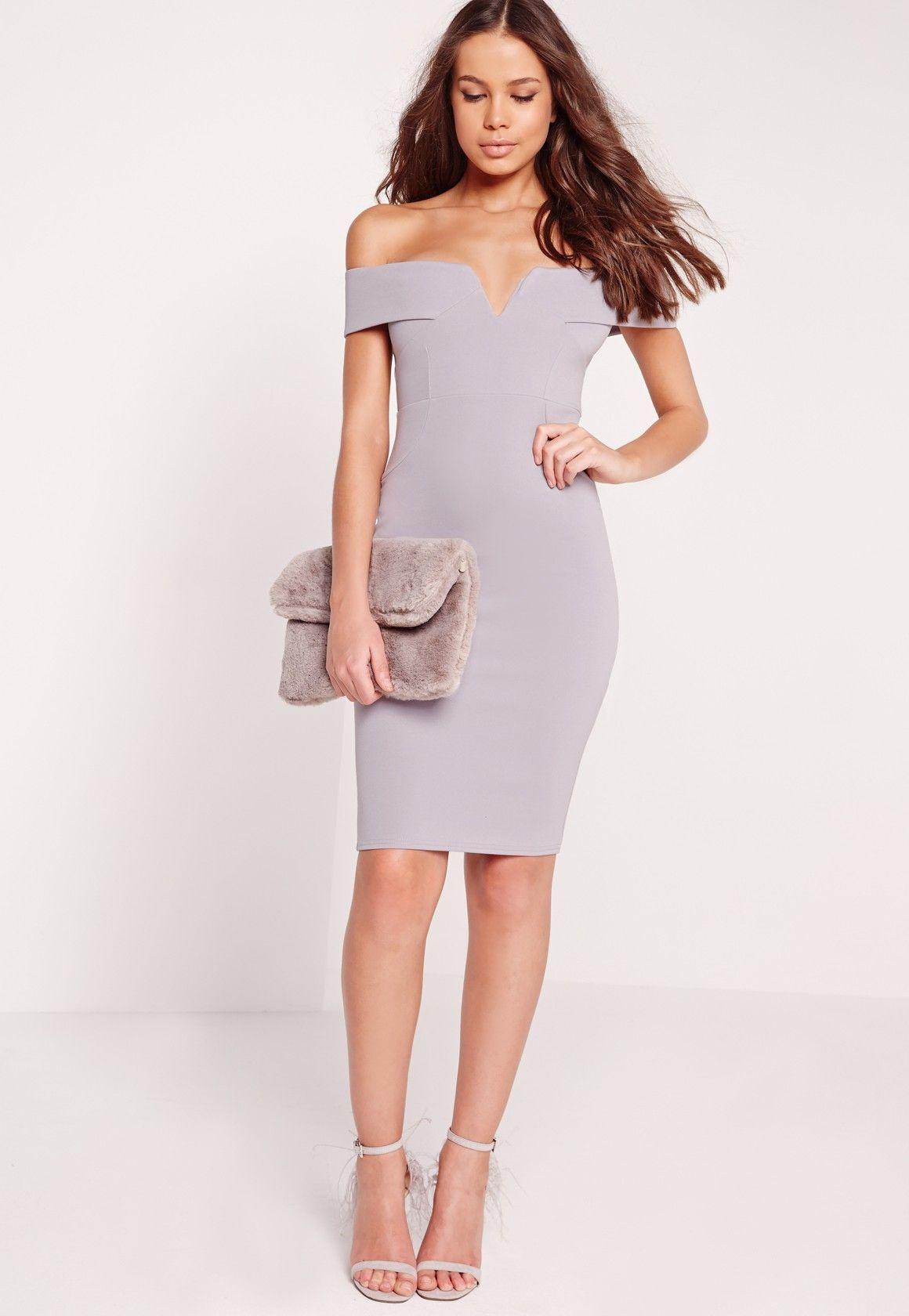 dc5721277490 Grey V Front Bardot Bodycon Midi Dress   Occasional wear   Grey midi ...