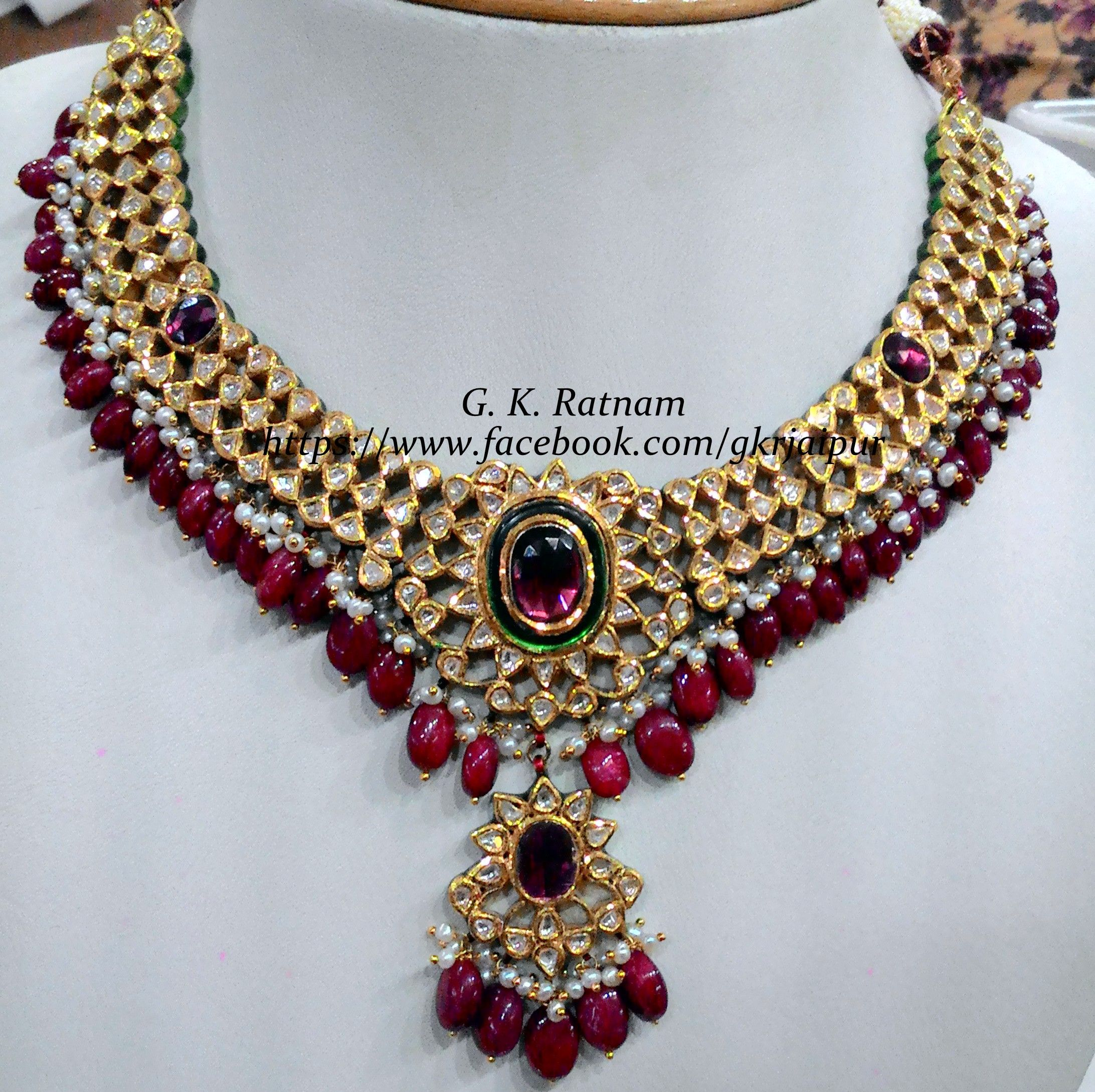 A gorgeous diamond polki necklace set with rubies