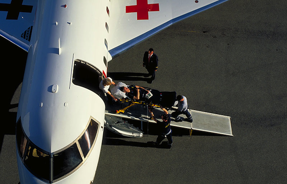 Loading Patient into an air ambulance