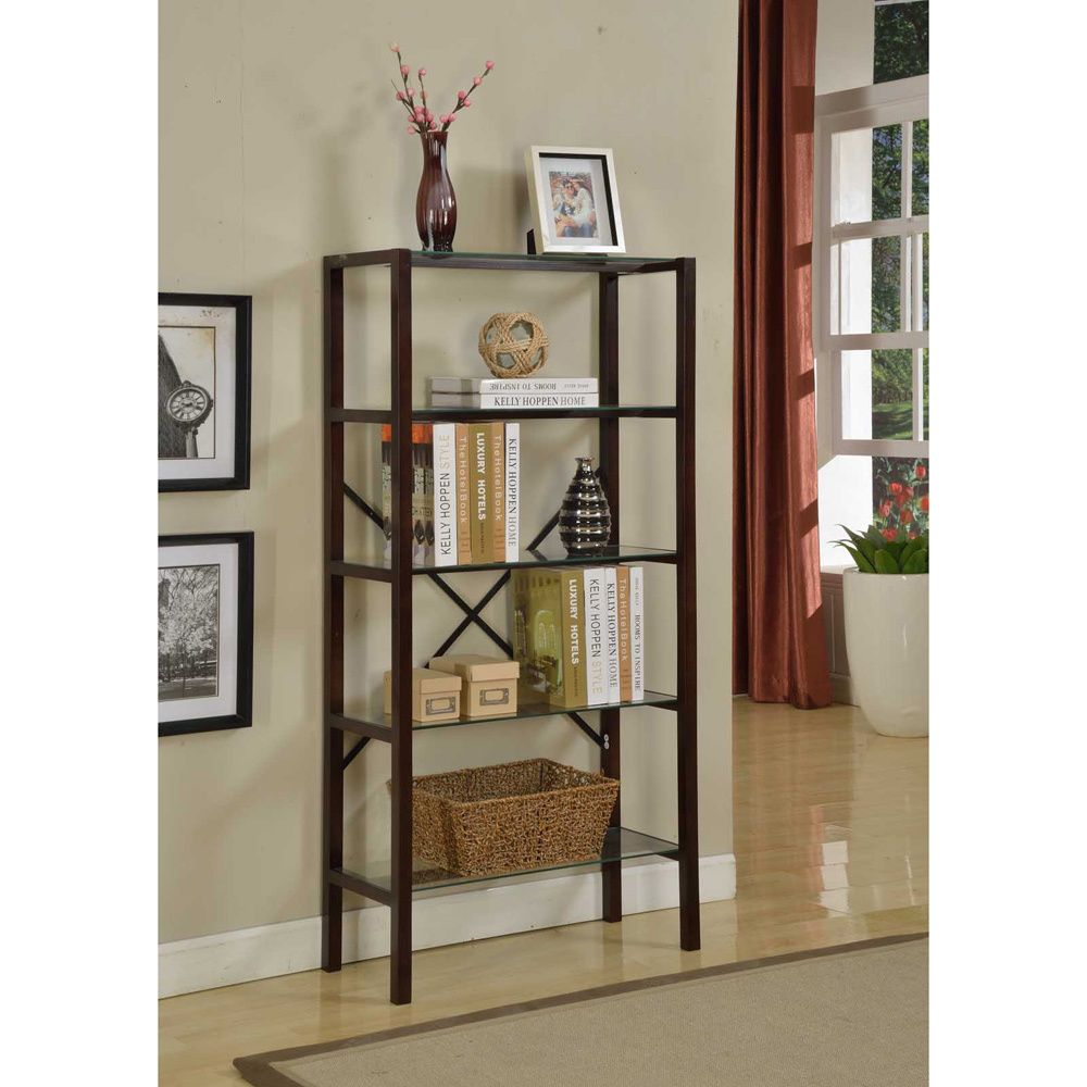 Chocolate tier wood metal bookcase overstock shopping great