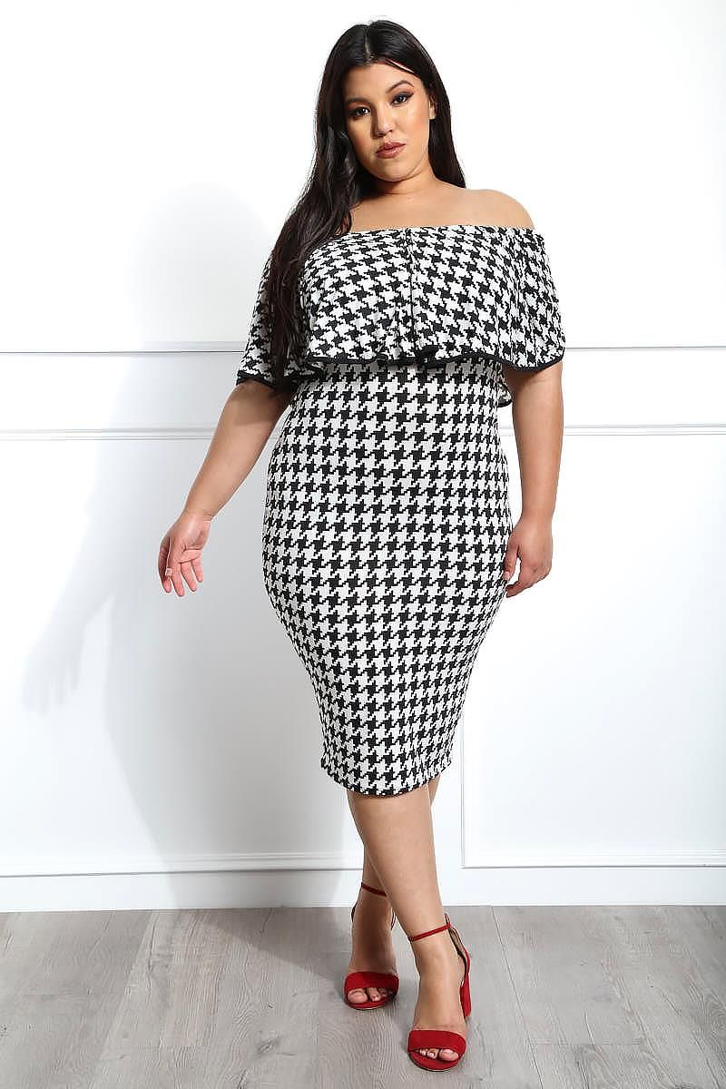 Luxe Looks Plus Size Houndstooth Dress | All Dressed Up in ...