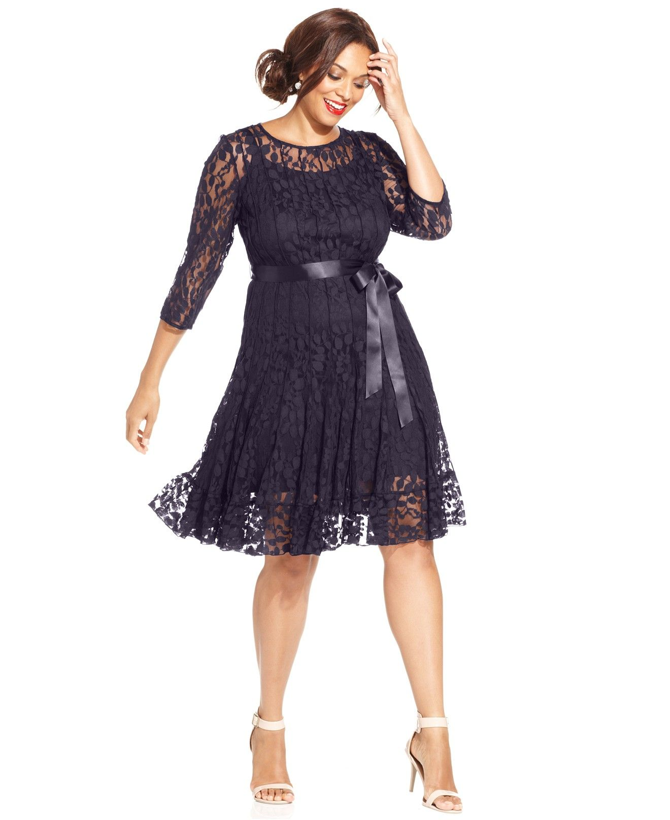 71c5a1f867c MSK Plus Size Illusion Floral Lace Dress - Dresses - Plus Sizes - Macy s