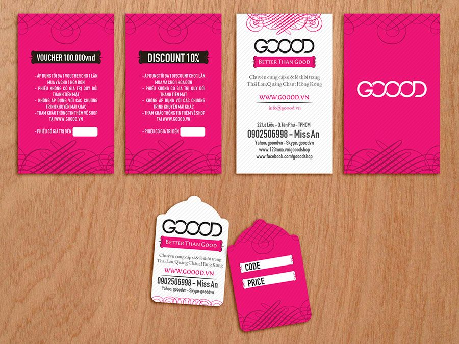 Fashion Shop, Hot Pink, Elegant, Business Card, Price Tag | Brand ...