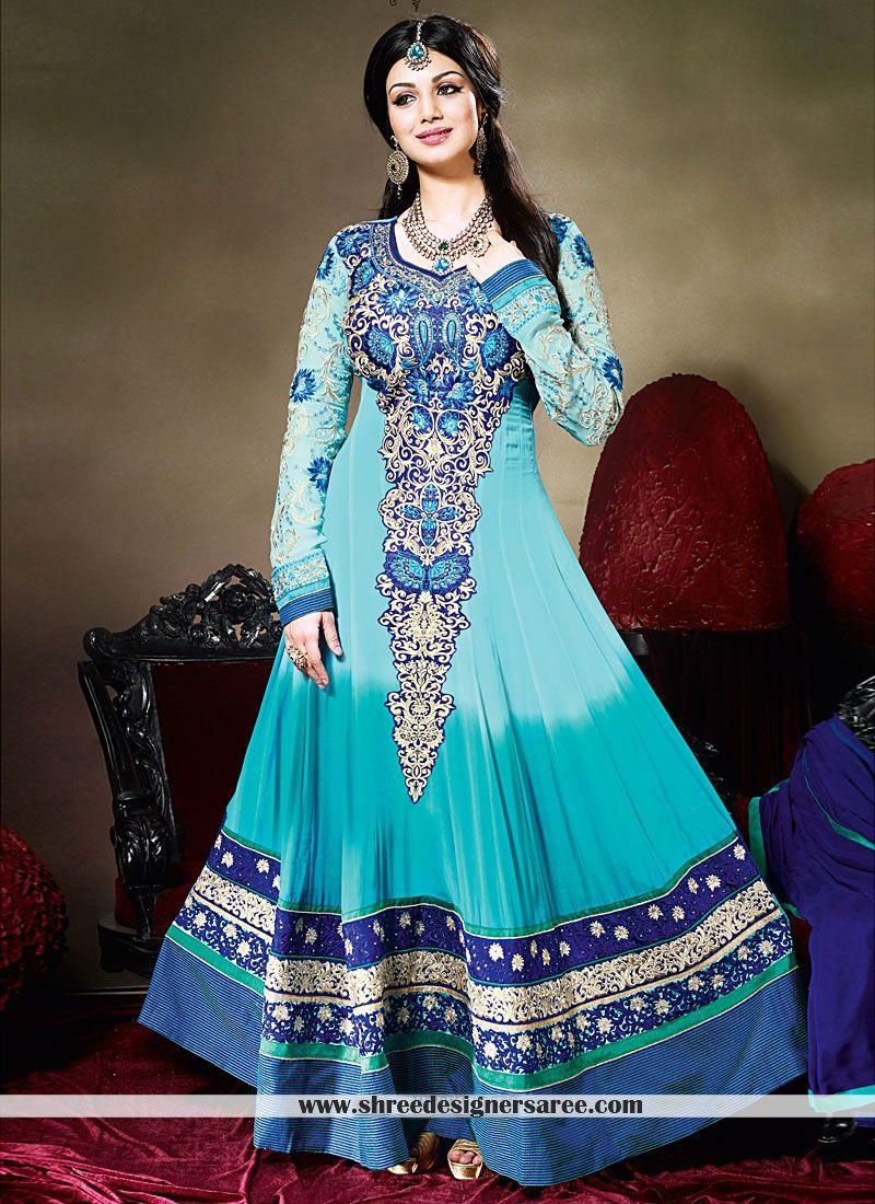 Ayesha Takia Turquoise Faux Georgette Anarkali Suit | wedding ideas ...