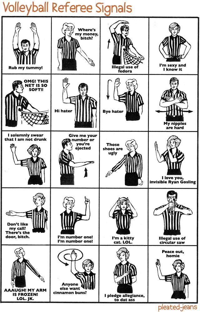 Funny Graphs What Referee Signals Actually Mean Volleyball Referee Volleyball Inspiration Volleyball Workouts
