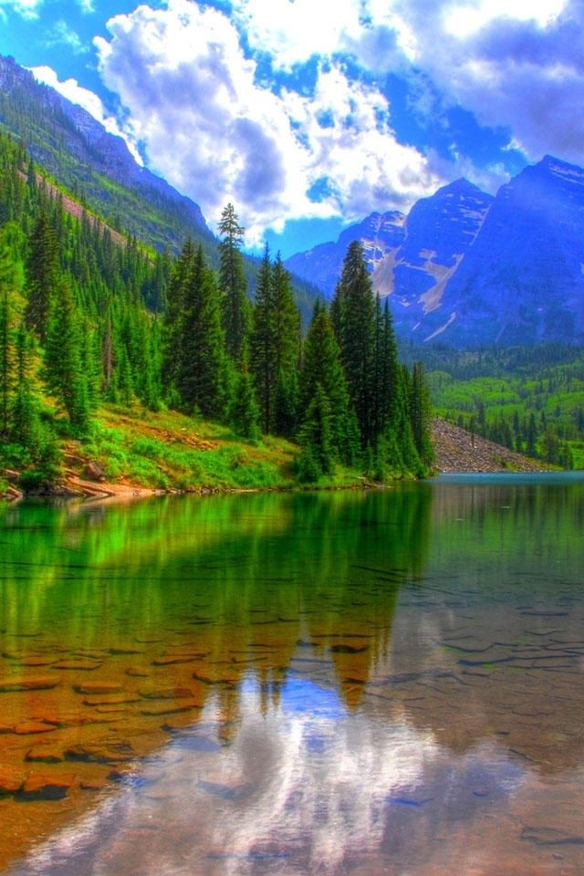hd beautiful dream mountian and lake iphone 4 wallpapers
