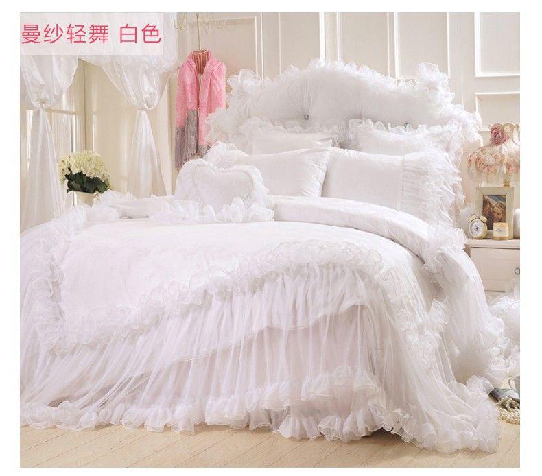 Korean Satin Jacquard Lace Bed Skirts Bedding Sets King Size White Romantic Love Cotton Wedding Bedspreads Duvet King Bedding Sets Bed Spreads Full Duvet Cover