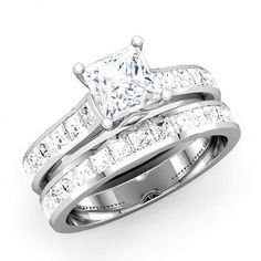 pin by maddy marzano on wedding day pinterest princess cut - Princess Cut Wedding Ring Set