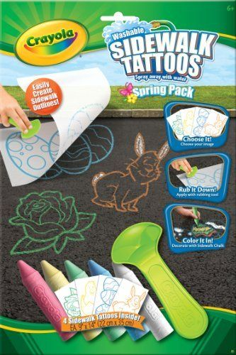 Crayola Giant Sidewalk Tattoos Spring by Crayola. $5.99. Washable fun. Kid's can create fun instant scene!. Great for Spring!. Spray away with water!. Peel it off, rub it on and color it in.. From the Manufacturer                Crayola Sidewalk Tattoos let you enhance your outdoor art with ready made line art images. Roll on any flat outdoor surface and color in with Sidewalk Crayons or other Crayola Outdoor products.                                    Product Description...
