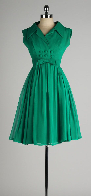 vintage 1960s dress . EMMA DOMB . emerald by millstreetvintage