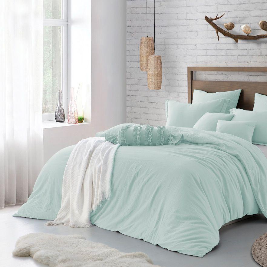 Microfiber Washed Crinkle Duvet Cover Set Mint Green Bedroom Mint Bedroom Bedroom Green