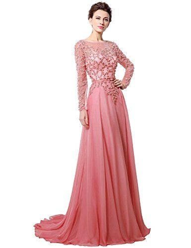 57185e2349 Clearbridal Women s Sheer Neck Coral Chiffon Prom Dress Long Sleeve Evening  Gown with Pearls Beaded Crystal CLX051 UK12. UK bridesmaid dresses.