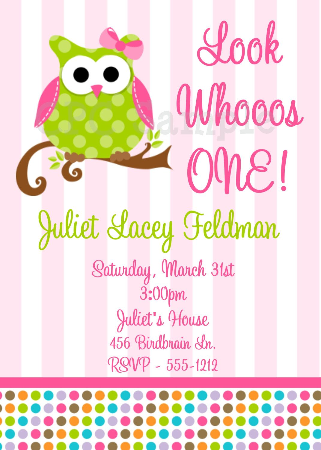 Pink and green owl birthday invitations printable or printed owl owl birthday invitation filmwisefo